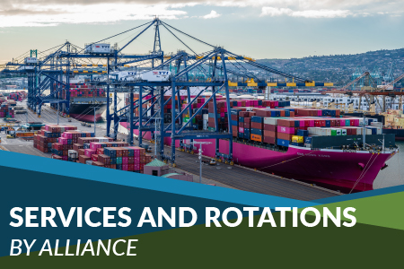 Links to Shipping Line Services and Port Rotations by Alliance