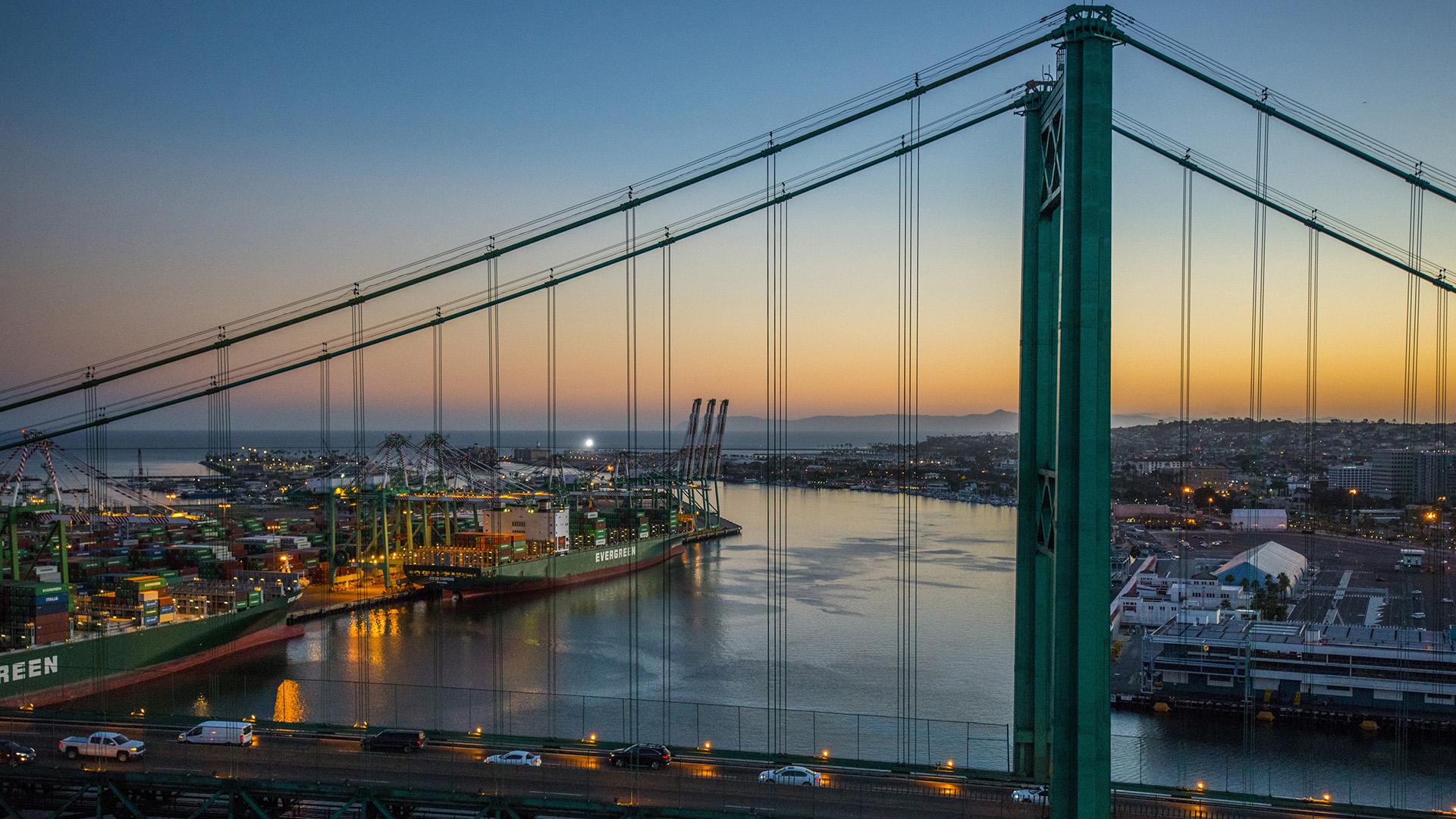 Vincent Thomas Bridge at Sunset